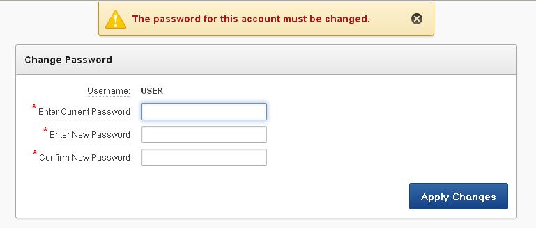 Страница изменения пароля
