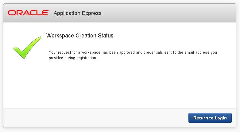 Успешное создание рабочего пространства (Workspace)